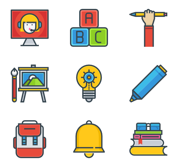 Classroom vector top view. Class icons free school
