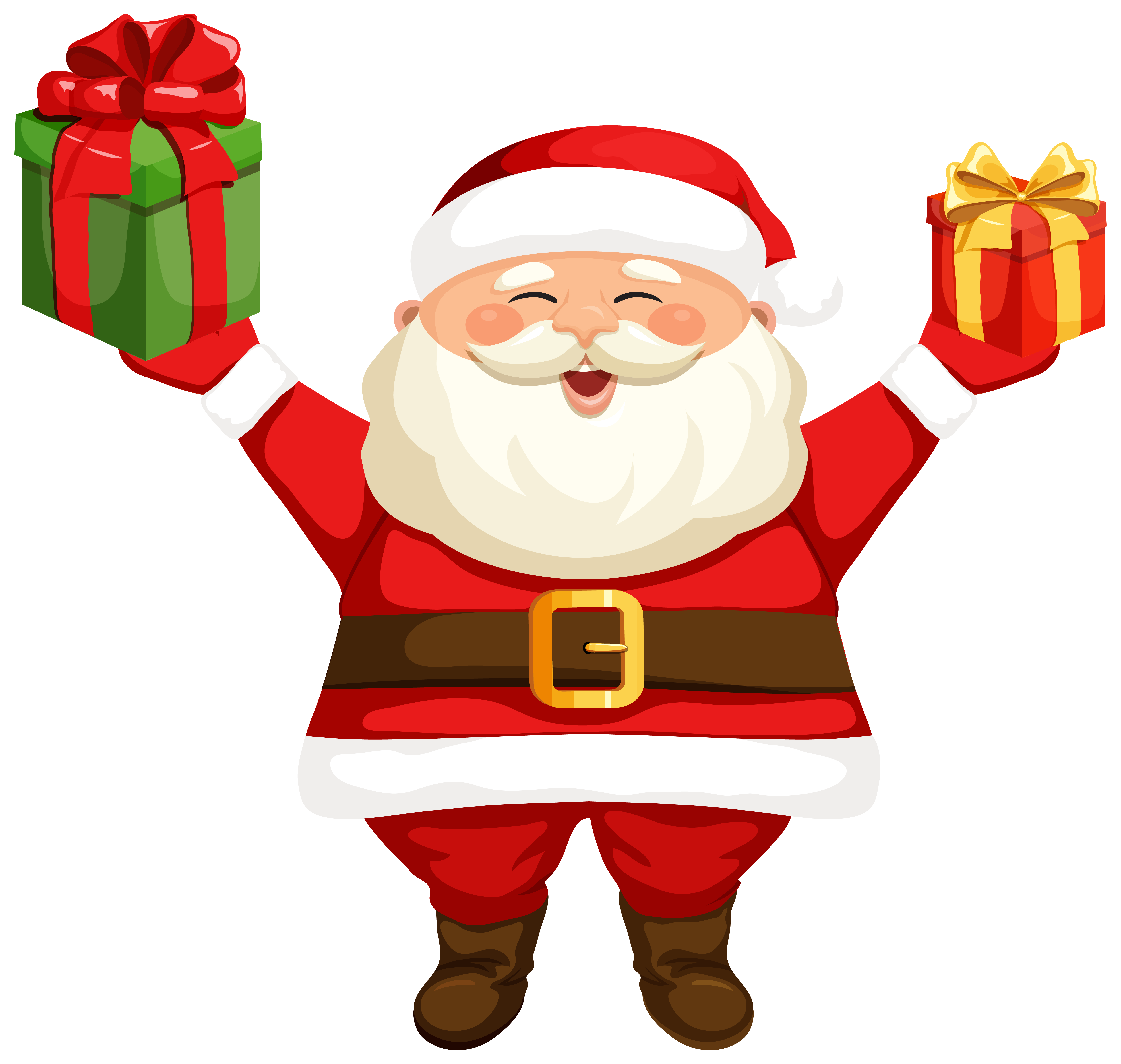 Claus clipart. Santa with gifts png