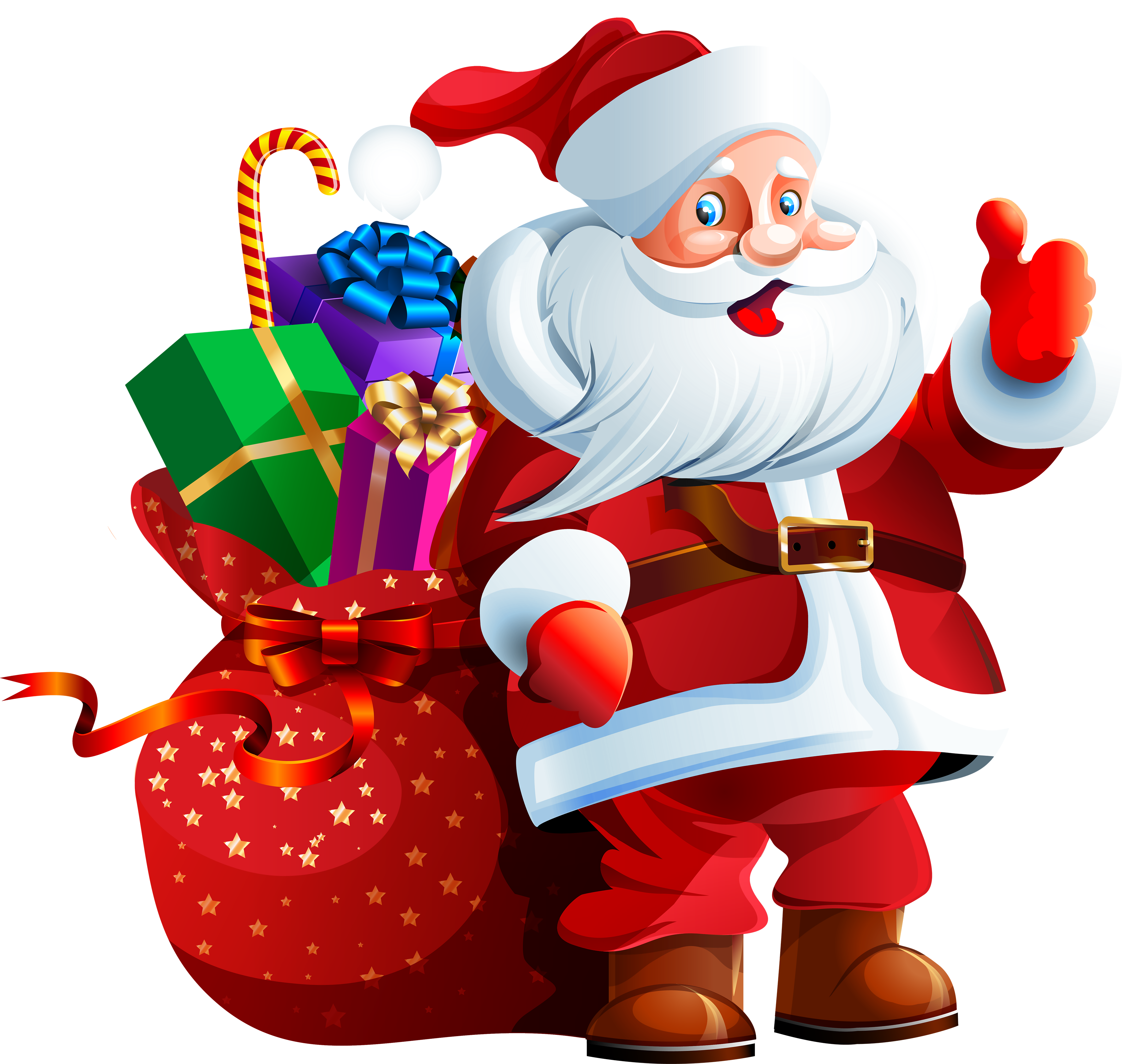 Claus clipart png. Santa with big bag