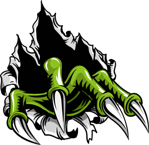 Vector monster green. Claws logo eps free