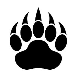 Claws vector bear claw. Paw print silhouette scrolling