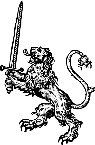 Lions vector medieval. Free lion with sword