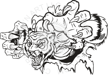 Claws vector shirt rip. Tiger ripping with