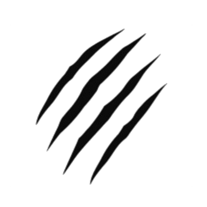 Transparent scratches rips. Three claw marks logos