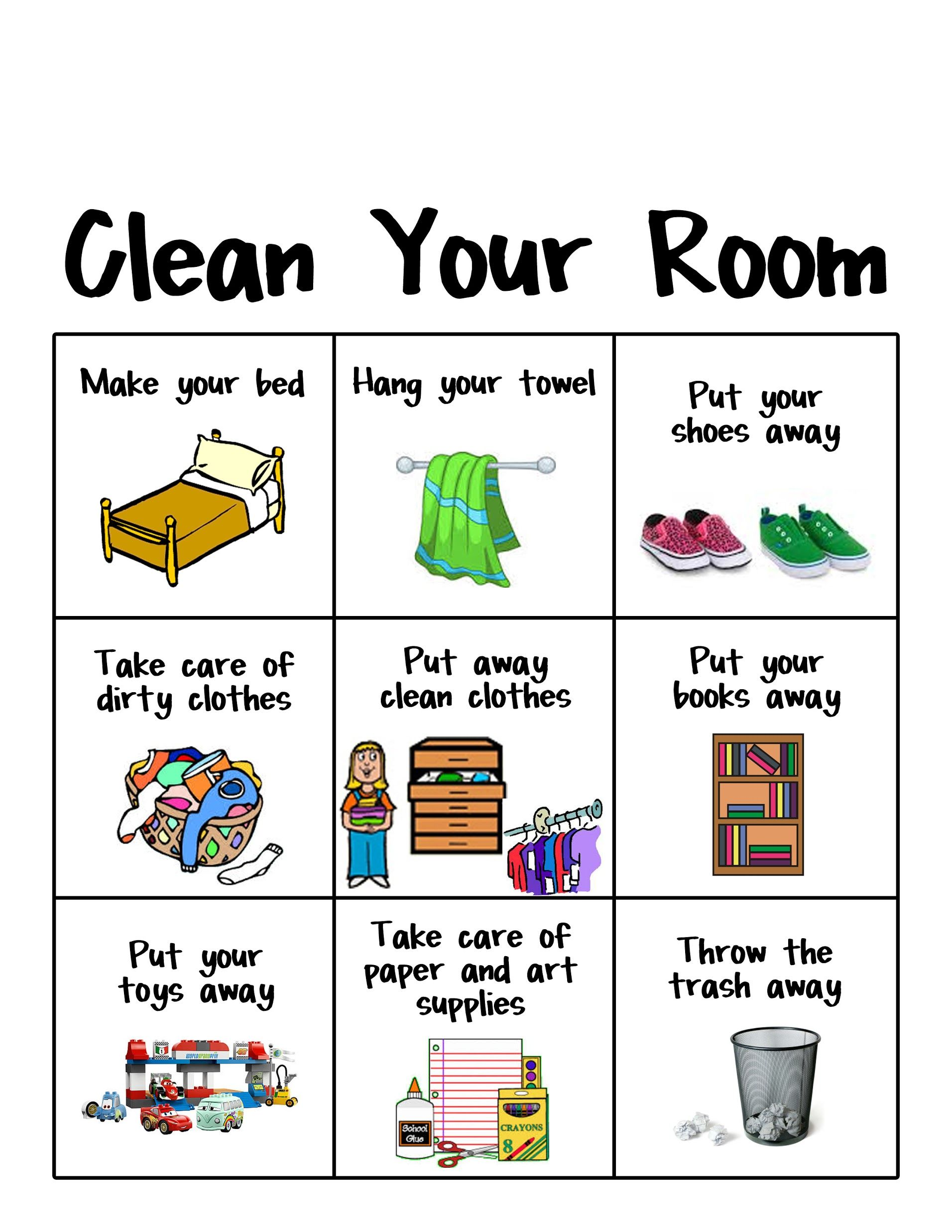 Clean clipart clean bedroom. Displaying your room chart