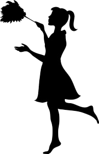 Clean vector cleaning lady. A maid lol silhouettes