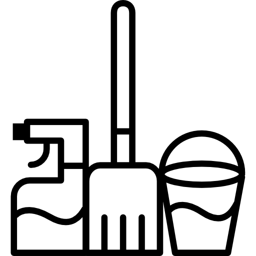 Clean vector mop bucket. Water and cleaning spray