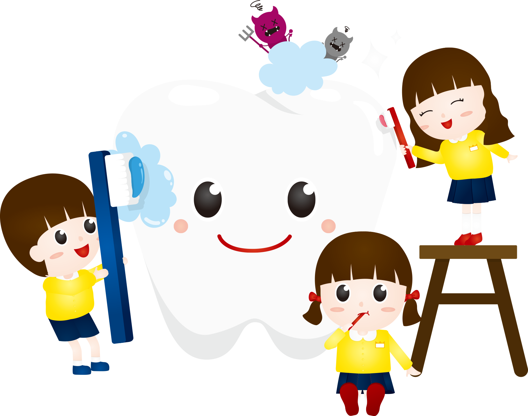Clean vector tooth cartoon. Dentistry computer file child
