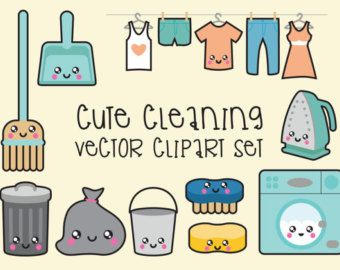 Cleaner clipart cute. Premium vector kawaii cleaning