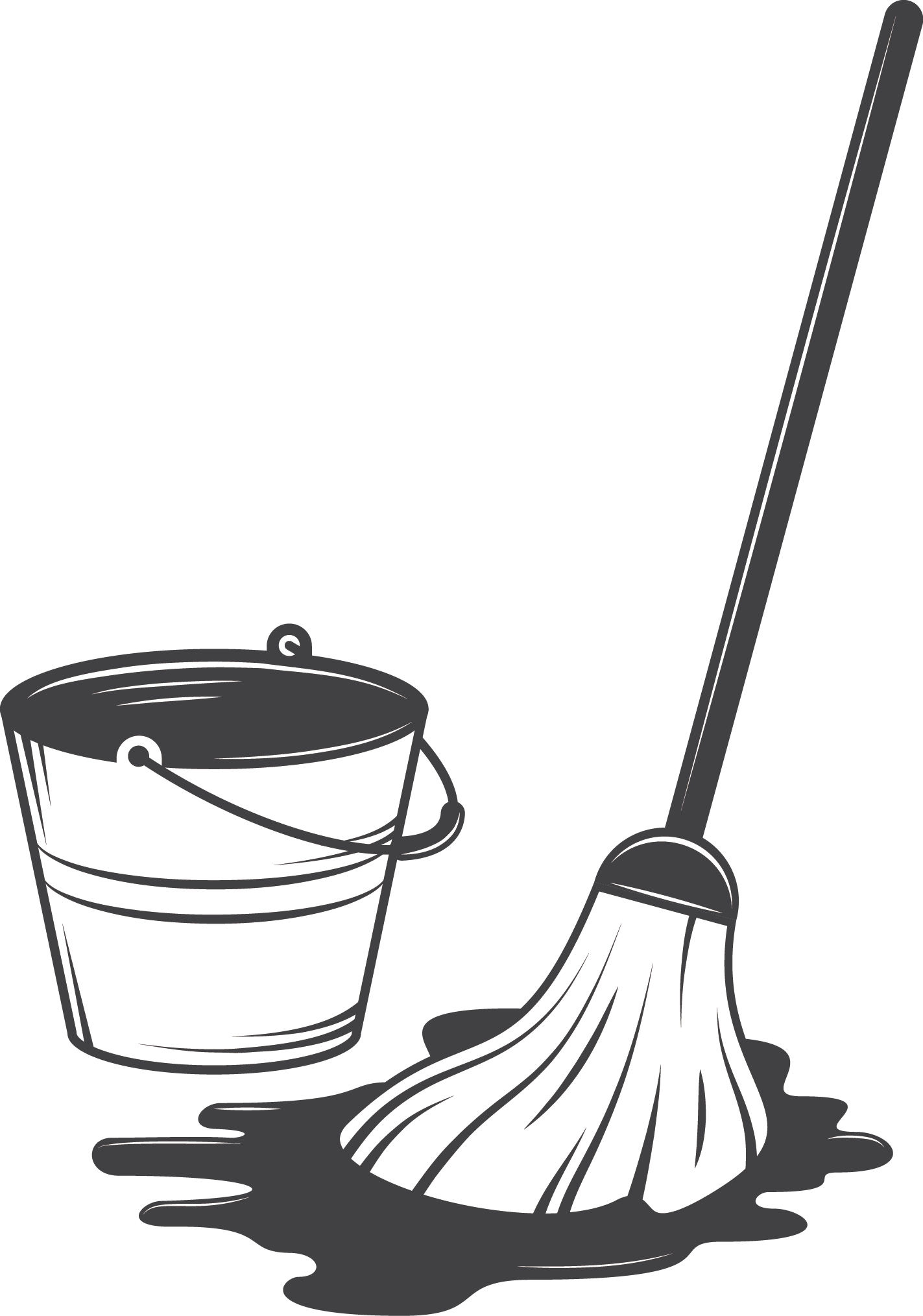 Cleaning drawing mop. Tool illustration and bucket