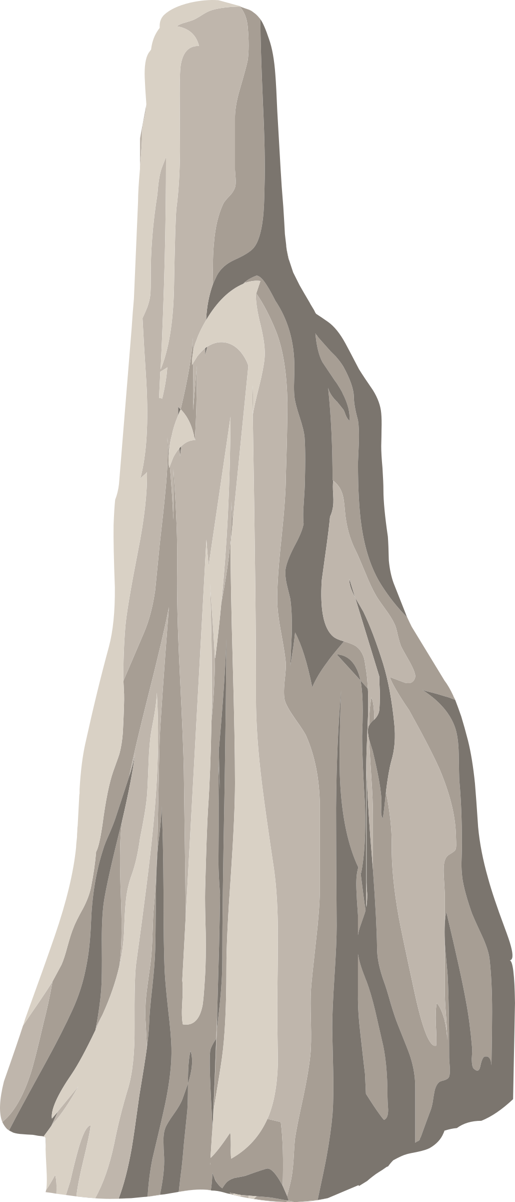 Edge drawing girl on cliff. Clipart alpine landscape face