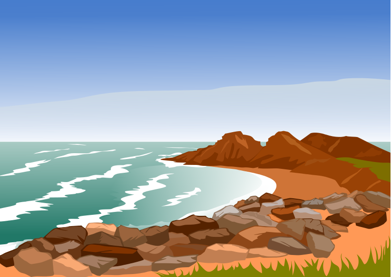 Cliff clipart coast. Collection nature pencil and