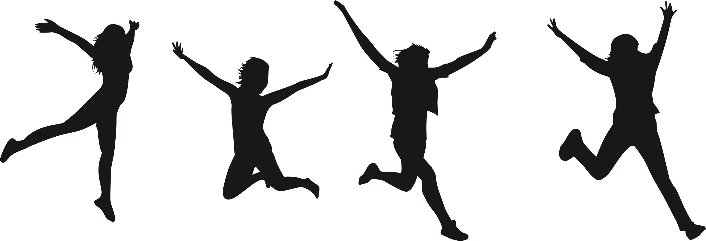 Cliff jump png. People jumping silhouette at