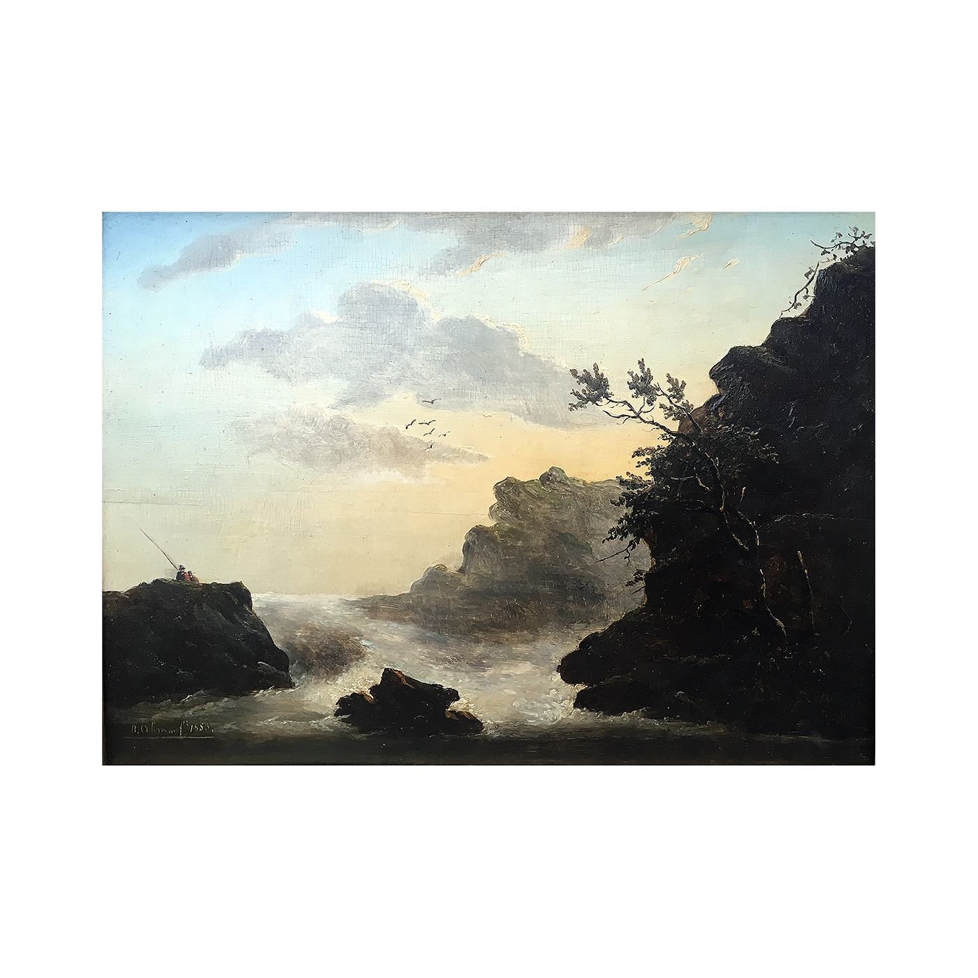 Cliff sunset png. German american romantic painting