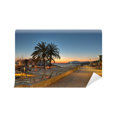 Cliff sunset png. Marbella harbor and at