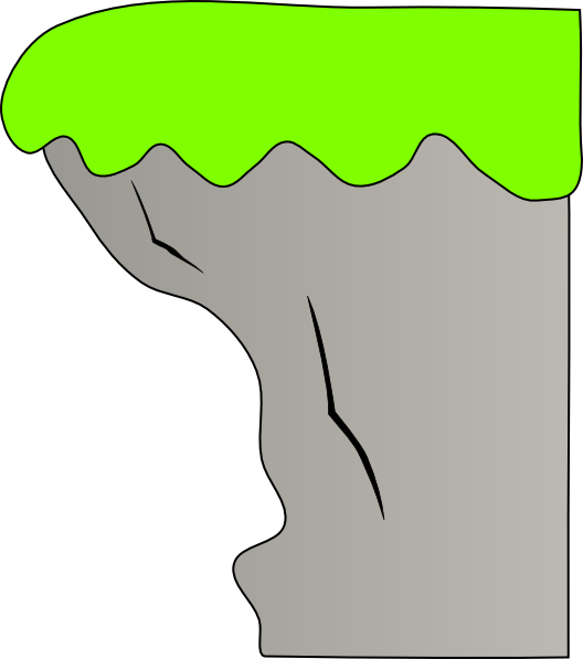 Cliff vector. With grass no background