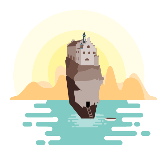 Cliff vector flat. Castles on the rocks