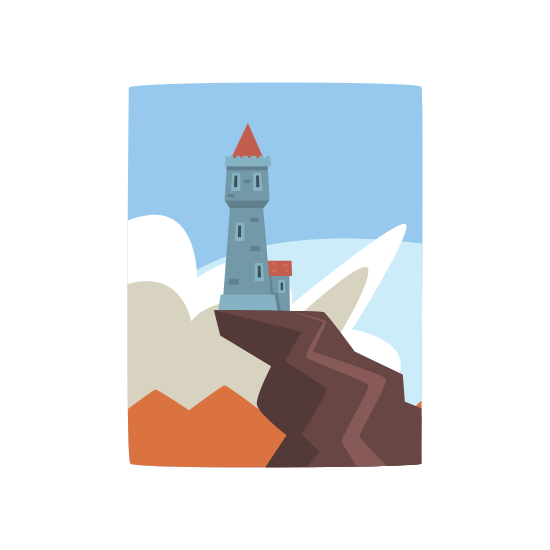 Cliff vector hand drawn. Little castle on top