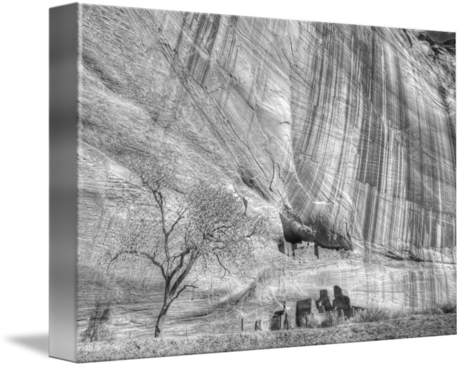 Cliffs drawing. Ruins in the cliff