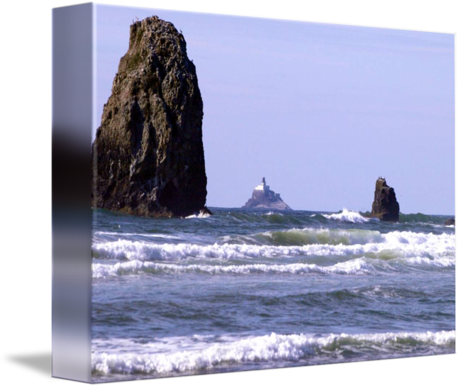 Landforms drawing cliff. Tillamook rock lighthouse by
