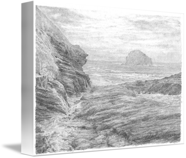 Cliffs drawing pencil. Gull rock by janine