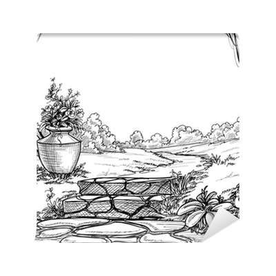 Wetlands drawing perspective. Stone stairs in the