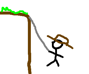 Cliffs drawing rope. Indiana jones swings from
