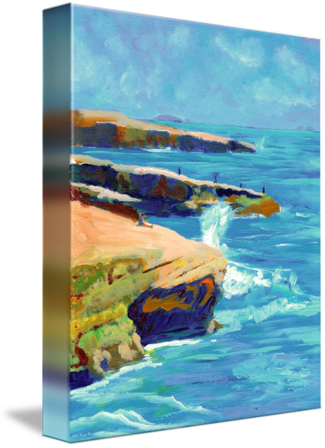 Cliffs drawing shore. Point loma sunset by
