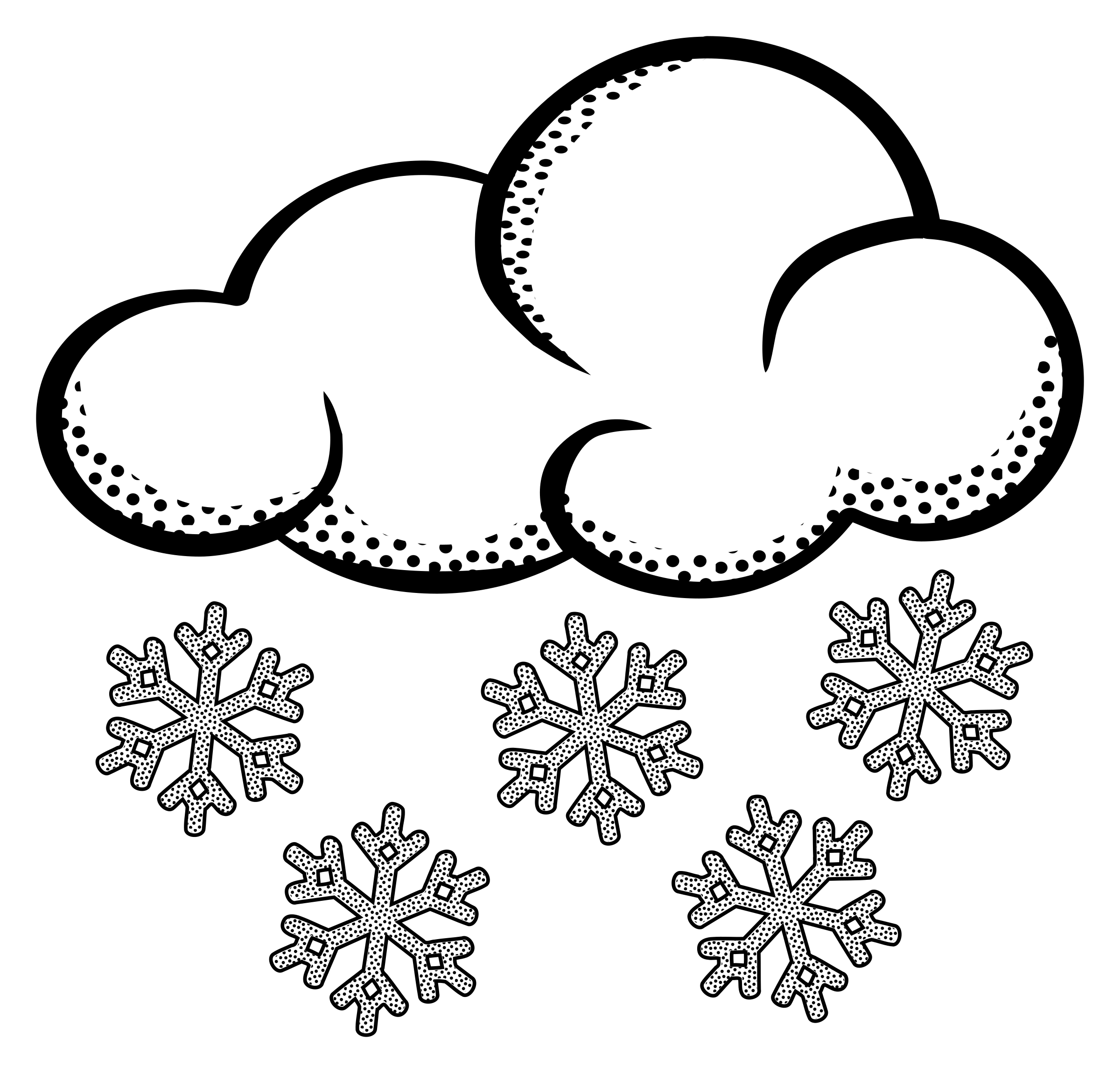 Climate drawing black and white. Collection of snowy