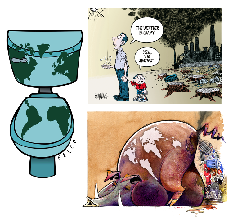 Climate drawing cartoon. Attention cartoons on the