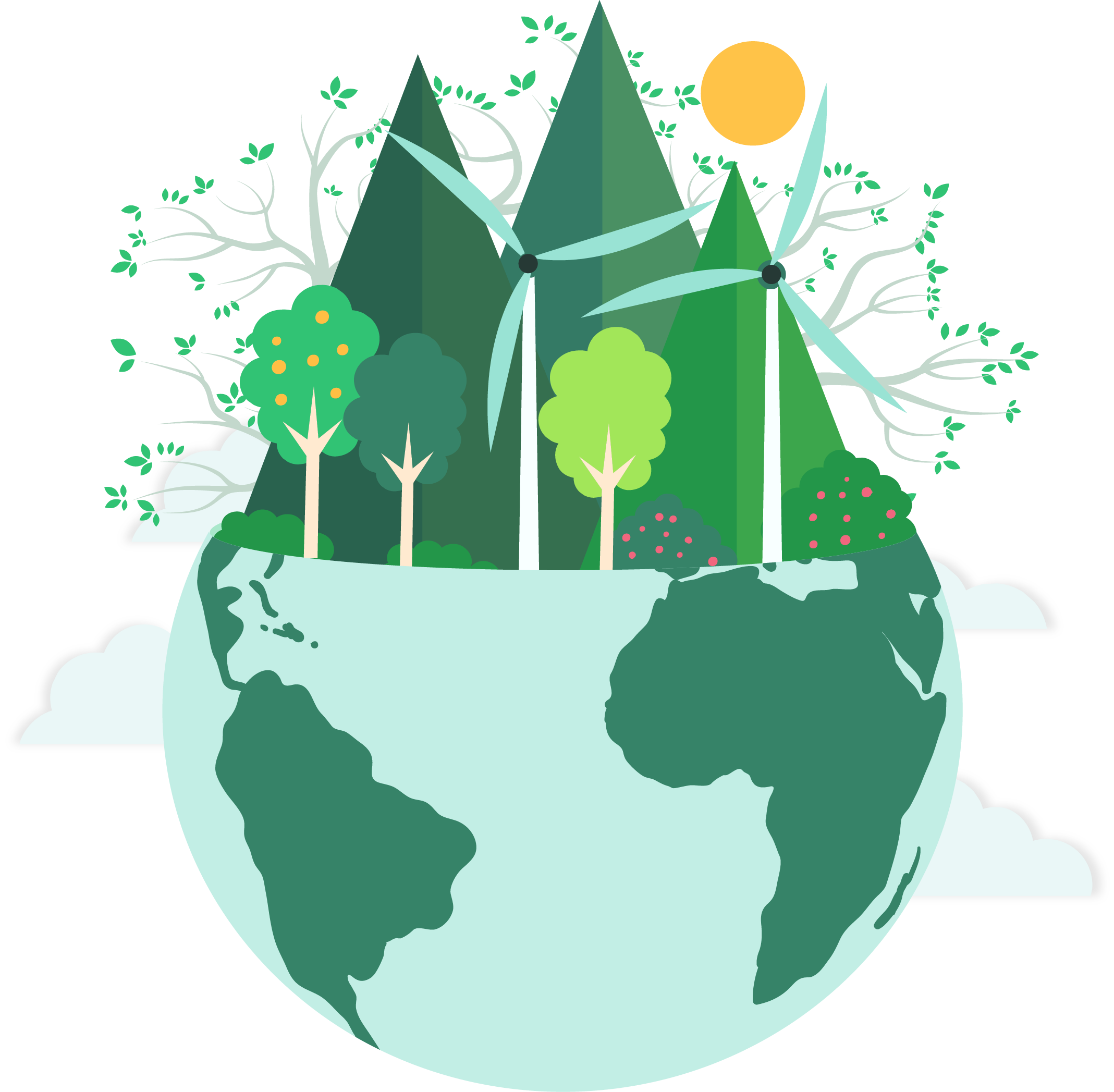 Climate drawing earth. Month calendar of