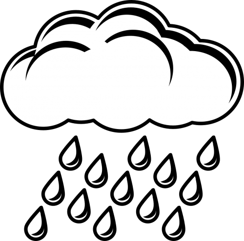 Climate drawing stormy weather. Raincloud storm symbol nature