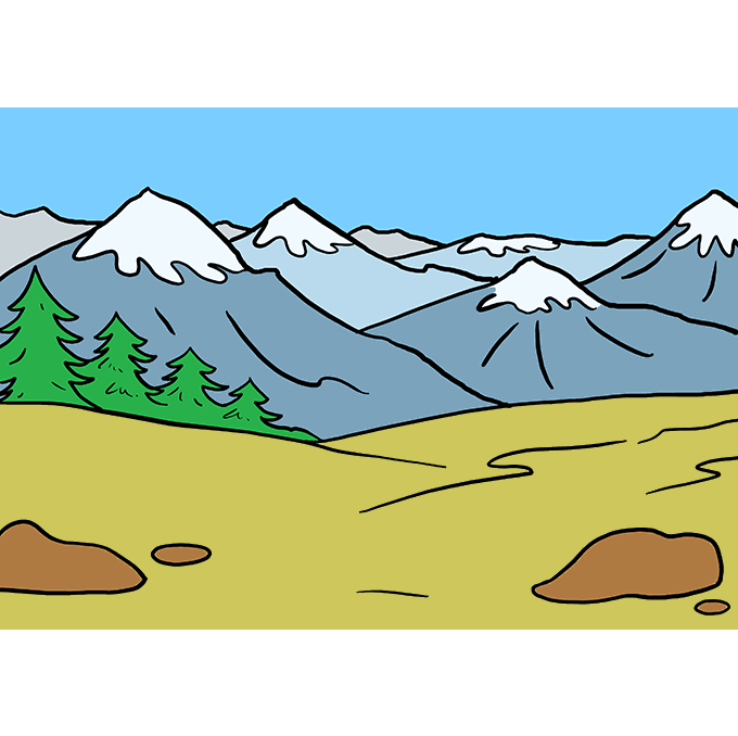 Drawing detail mountain. How to draw mountains