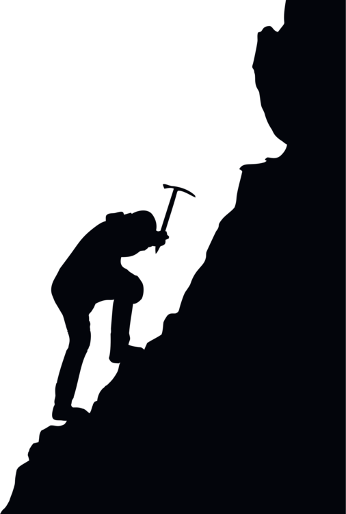 Climbing vector silhouette. Mountaineering free commercial clipart