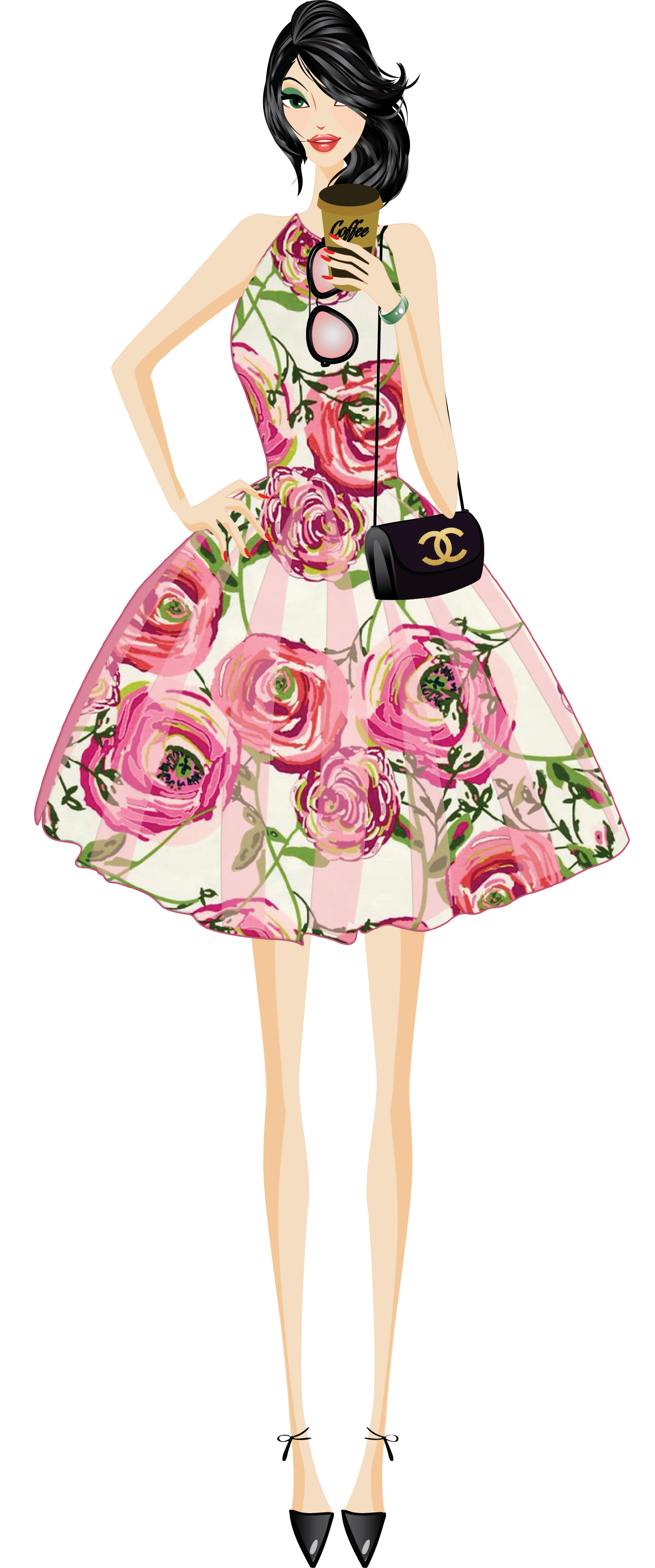 fashionista drawing pink