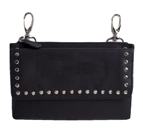 Clip bag belt. Studded purse biker fashion