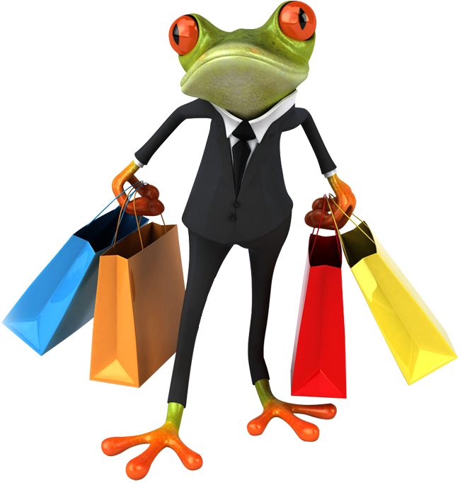 Clip bag frog. Business with shopping bags