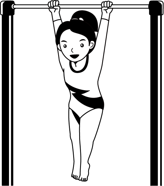 Clip bar gymnastics. Artistic uneven bars parallel