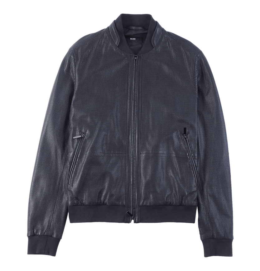 Clip button metal jacket. Perforated leather in bomber