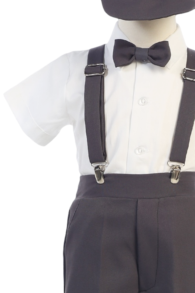 Clip suspenders tie. Boys charcoal grey short
