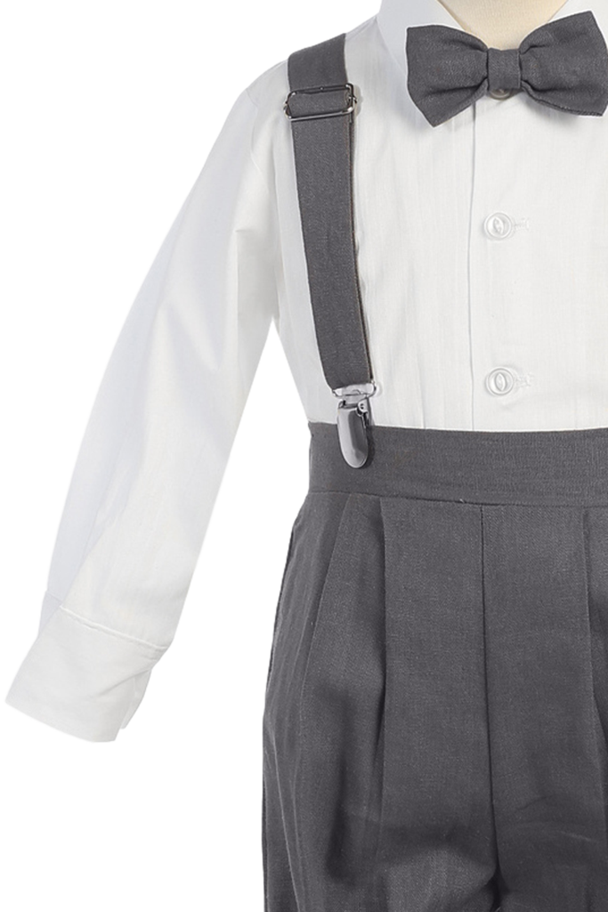 Clip suspenders suit. Charcoal grey linen blend