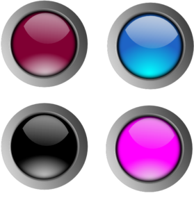 Clip buttons. Round glossy art at