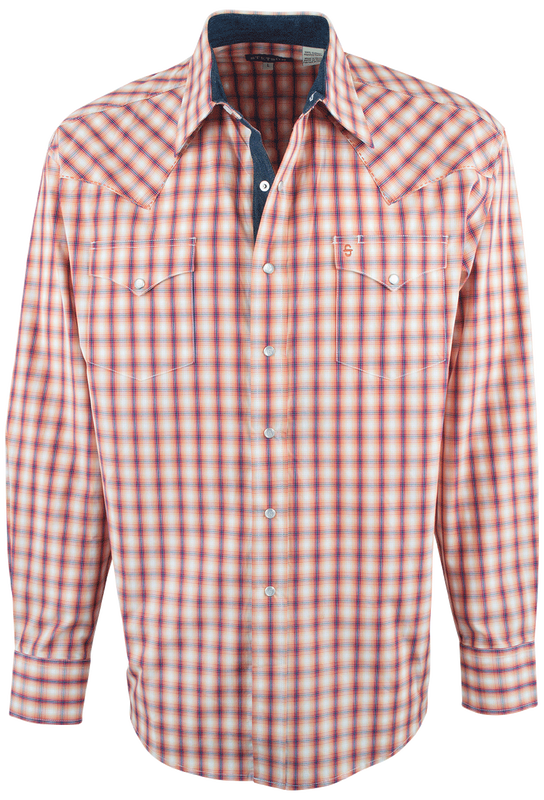 Clip buttons side skirt. Stetson orange spectral check