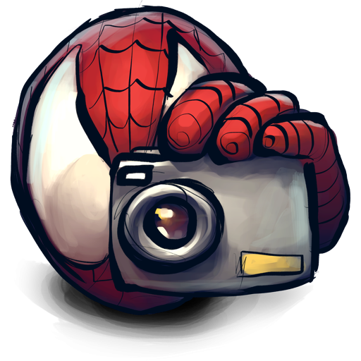 Clip camera spider. Man with icon png
