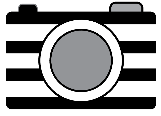 Clip cameras black and white. Striped camera clipart oh