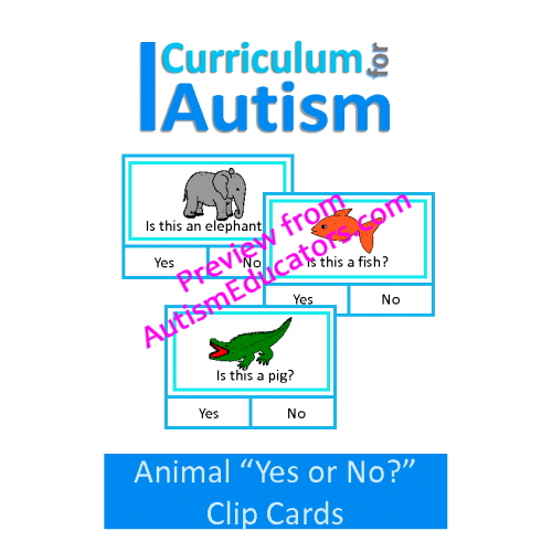 Clip cards shape matching. Animal yes or no