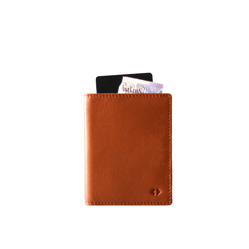 Clip cards card holder. Leather wallet with rfid