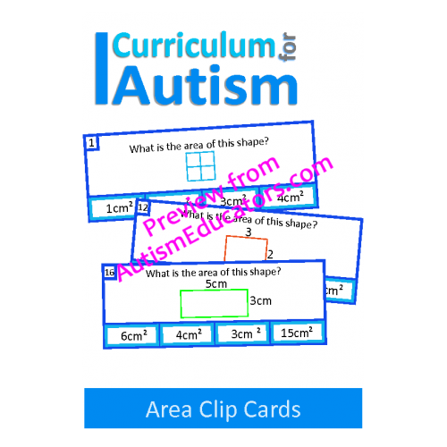 Clip cards shape. Area of shapes autism