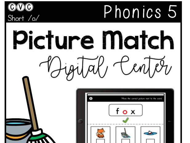 Clip cards phonics. Cvc short o digital