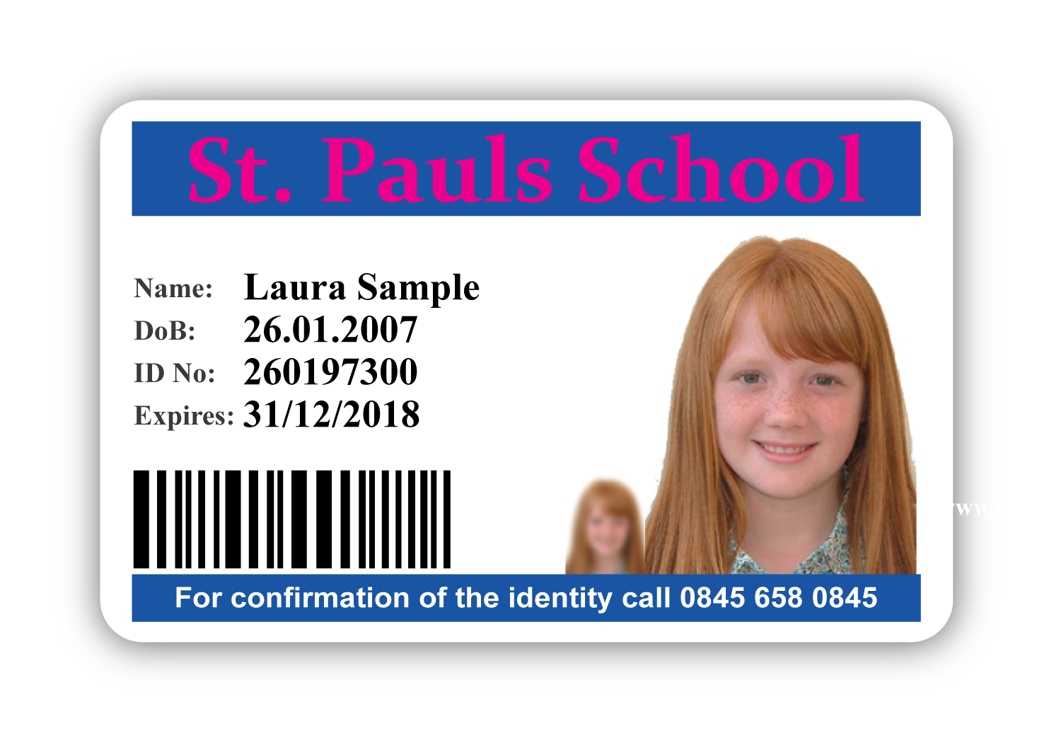 Clip cards school id. Photo card design primary